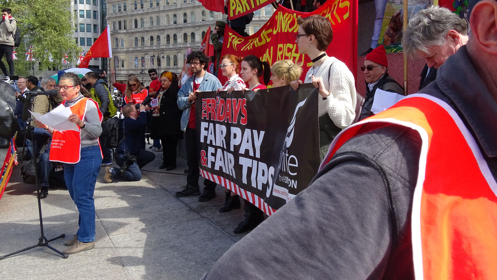 TGI FRIDAYS WORKERS INTRODUCED TO RALLY BY EVE TURNER